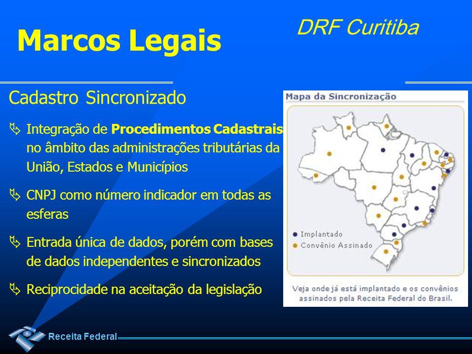 Receita Federal DRF Curitiba Cadastro Sincronizado Integração de Procedimentos Cadastrais no âmbito das administrações tributárias da União, Estados e