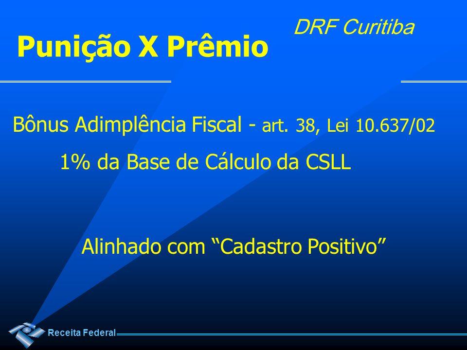 Receita Federal DRF Curitiba Bônus Adimplência Fiscal - art. 38, Lei 10.637/02 1% da Base de Cálculo da CSLL Alinhado com Cadastro Positivo Punição X