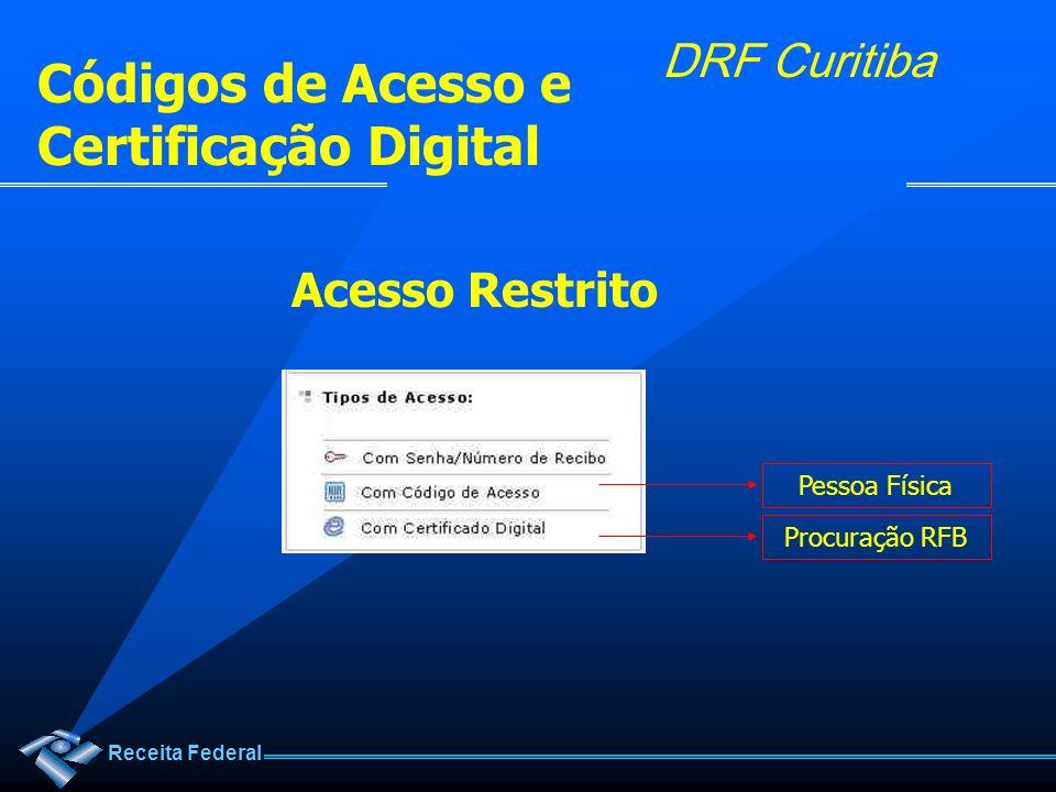 Receita Federal DRF Curitiba Códigos de Acesso e Certificação Digital Acesso Restrito Procuração RFBPessoa Física