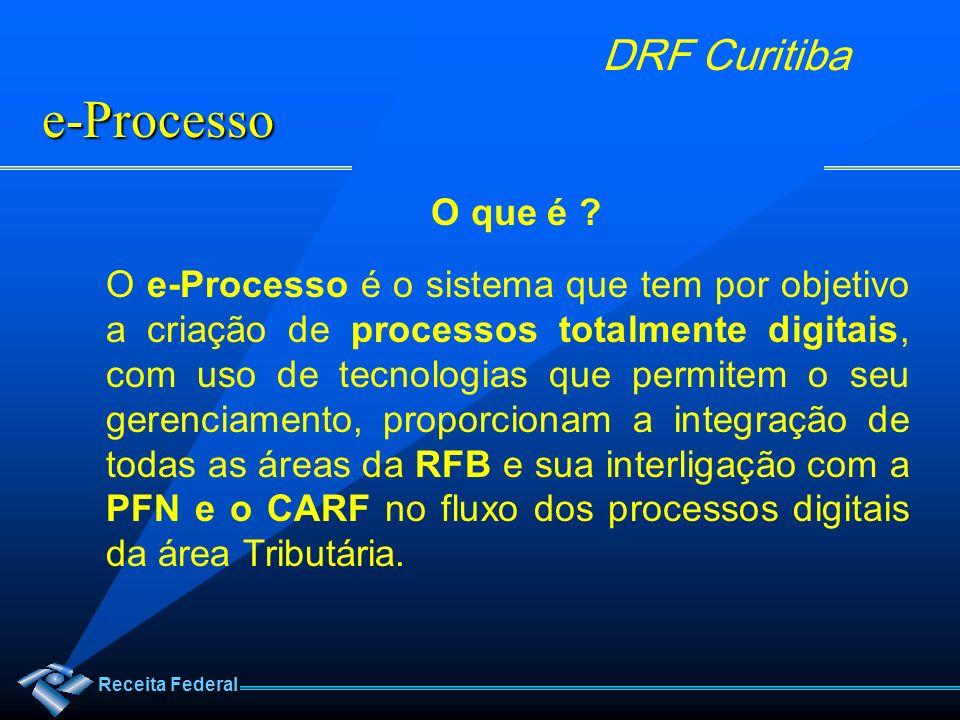 Receita Federal DRF Curitiba O que é ? O e-Processo é o sistema que tem por objetivo a criação de processos totalmente digitais, com uso de tecnologia