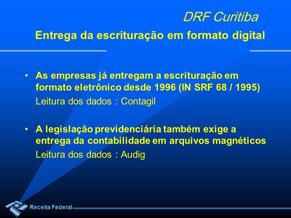 Receita Federal DRF Curitiba Entrega da escrituração em formato digital As empresas já entregam a escrituração em formato eletrônico desde 1996 (IN SR