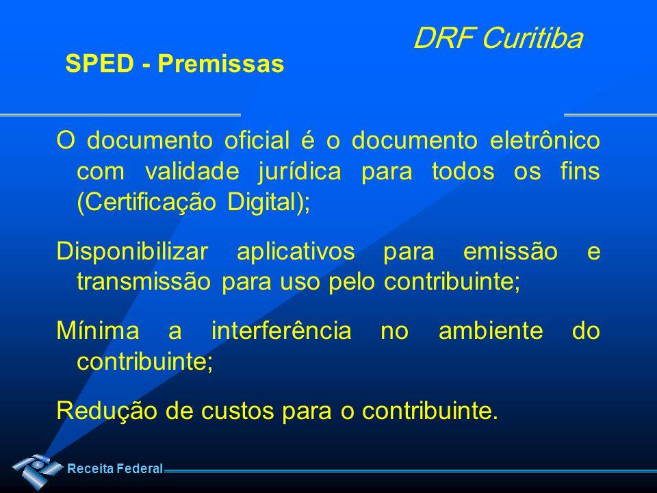 Receita Federal DRF Curitiba O documento oficial é o documento eletrônico com validade jurídica para todos os fins (Certificação Digital); Disponibili