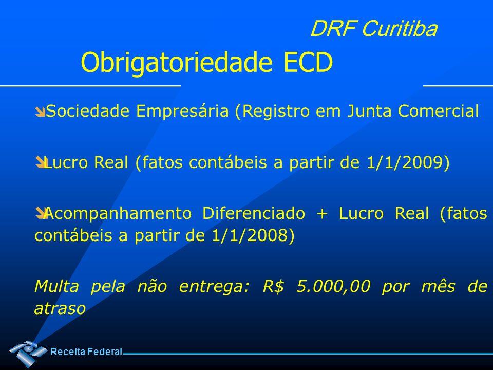 Receita Federal DRF Curitiba Sociedade Empresária (Registro em Junta Comercial Lucro Real (fatos contábeis a partir de 1/1/2009) Acompanhamento Difere