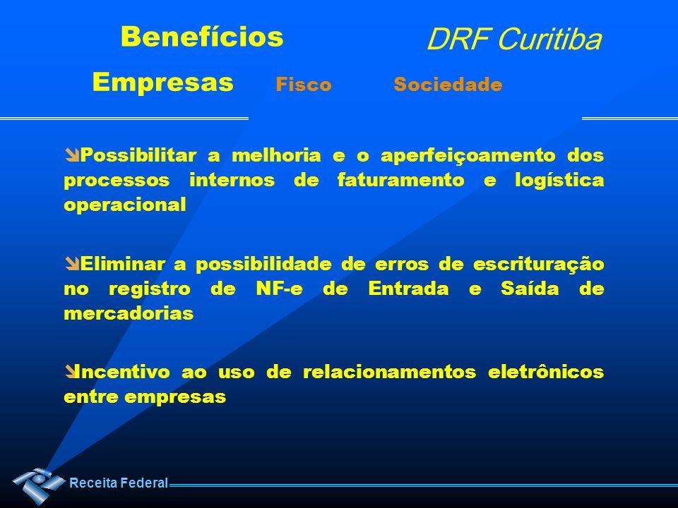 Receita Federal DRF Curitiba Benefícios Empresas Fisco Sociedade Possibilitar a melhoria e o aperfeiçoamento dos processos internos de faturamento e l