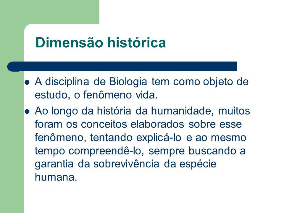 Dimensão histórica A disciplina de Biologia tem como objeto de estudo, o fenômeno vida. Ao longo da história da humanidade, muitos foram os conceitos