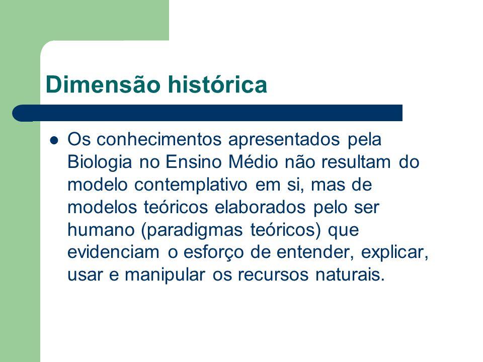 Dimensão histórica Os conhecimentos apresentados pela Biologia no Ensino Médio não resultam do modelo contemplativo em si, mas de modelos teóricos ela