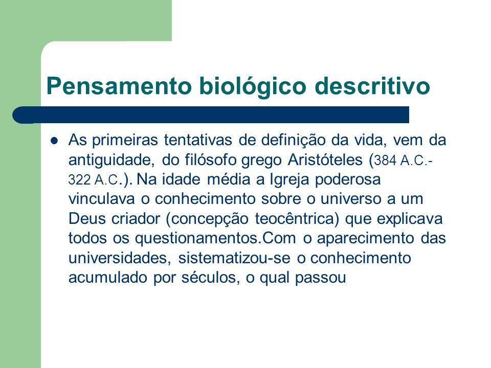 Pensamento biológico descritivo a ser discutido fora do âmbito religioso.