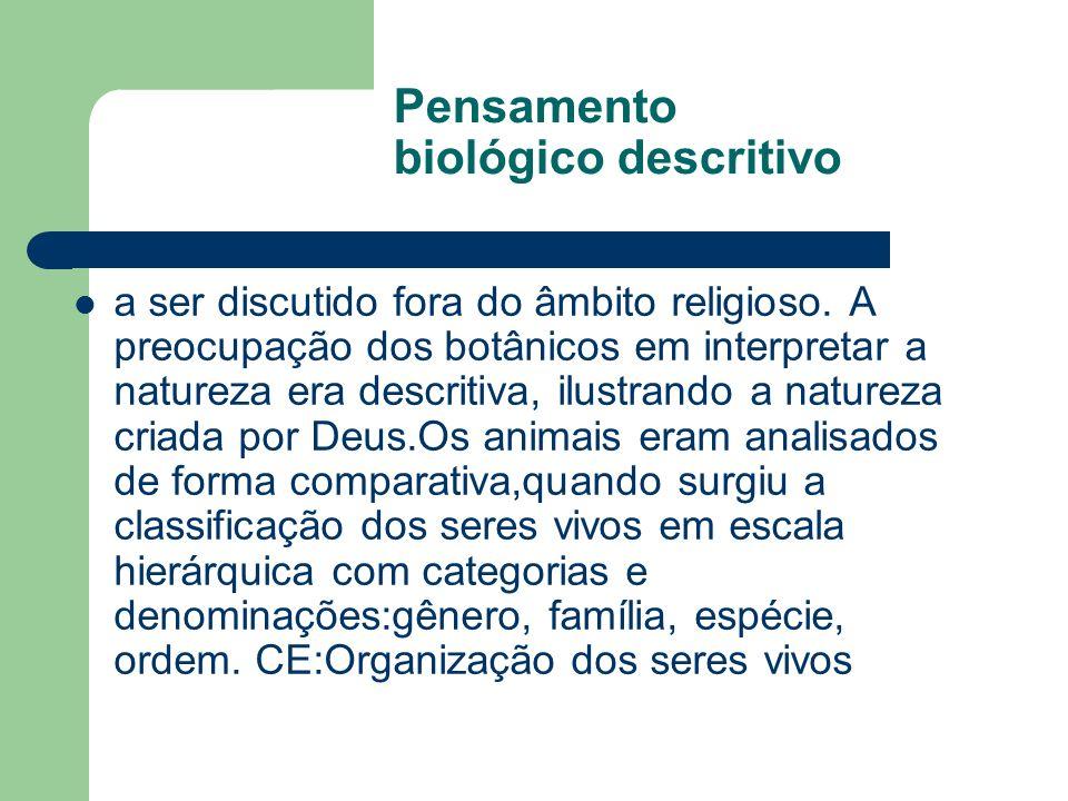 Pensamento biológico descritivo a ser discutido fora do âmbito religioso. A preocupação dos botânicos em interpretar a natureza era descritiva, ilustr
