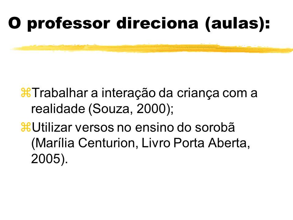 O professor direciona (aulas): zIncentivar o desenvolvimento da criança através de várias atividades (Piaget, 1990); zAtentar para a formação de conce