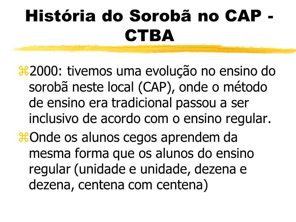 História do Sorobã no CAP - CTBA zO ano 1999, registra o início da história do sorobã no CAP como instrumento de integração do ensino especial por mei