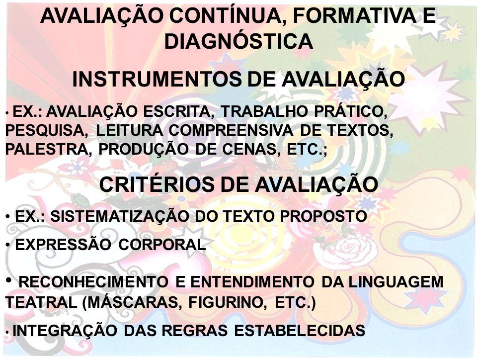 AVALIAÇÃO CONTÍNUA, FORMATIVA E DIAGNÓSTICA INSTRUMENTOS DE AVALIAÇÃO EX.: AVALIAÇÃO ESCRITA, TRABALHO PRÁTICO, PESQUISA, LEITURA COMPREENSIVA DE TEXT