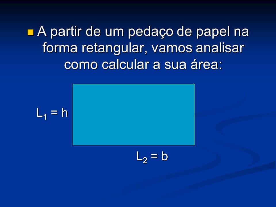 A partir de um pedaço de papel na forma retangular, vamos analisar como calcular a sua área: A partir de um pedaço de papel na forma retangular, vamos