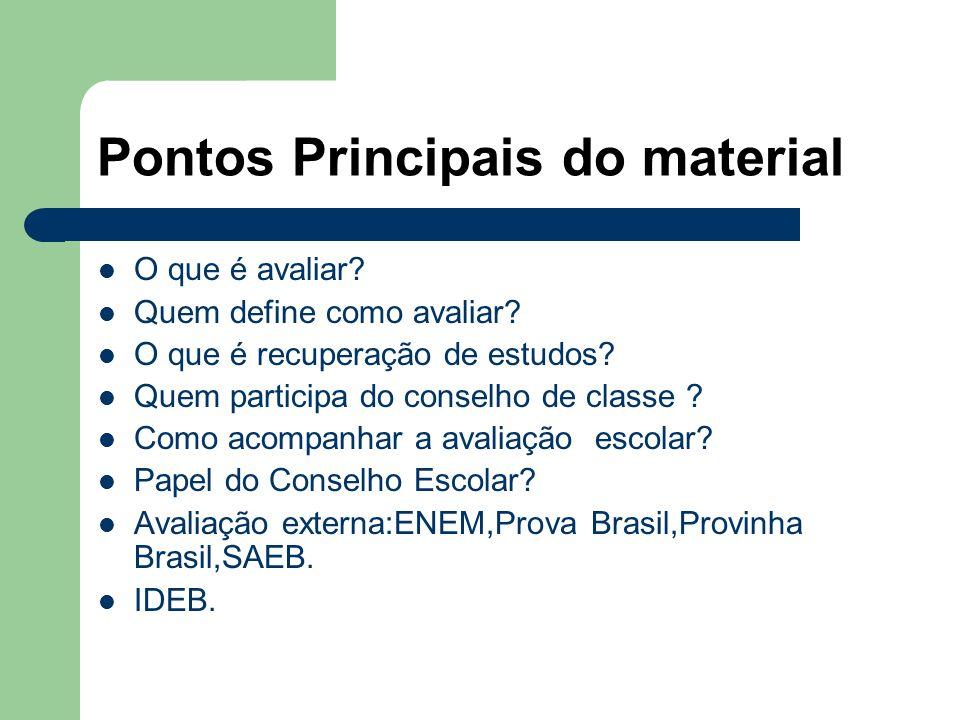 Pontos Principais do material O que é avaliar? Quem define como avaliar? O que é recuperação de estudos? Quem participa do conselho de classe ? Como a