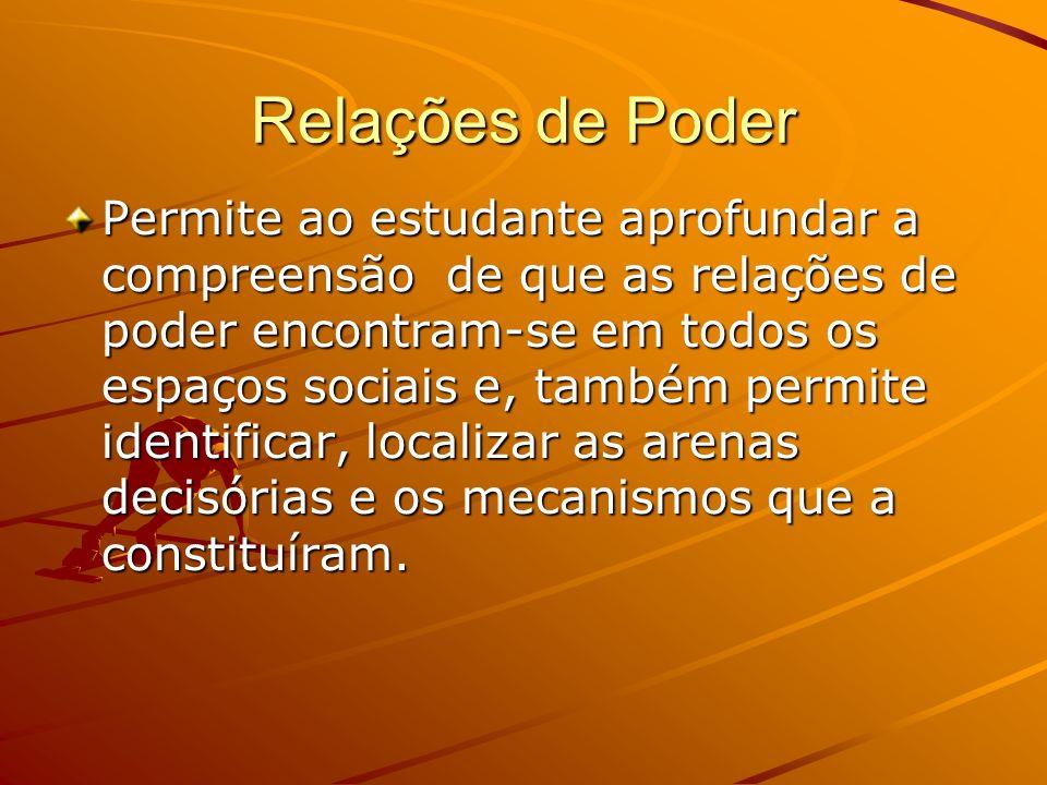 Relações de Poder Permite ao estudante aprofundar a compreensão de que as relações de poder encontram-se em todos os espaços sociais e, também permite