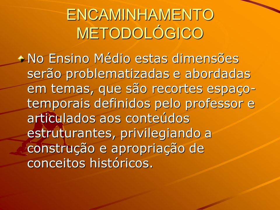 ENCAMINHAMENTO METODOLÓGICO No Ensino Médio estas dimensões serão problematizadas e abordadas em temas, que são recortes espaço- temporais definidos p