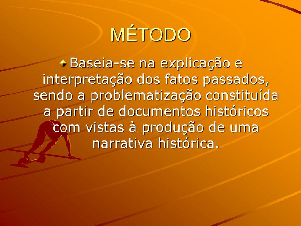 MÉTODO Baseia-se na explicação e interpretação dos fatos passados, sendo a problematização constituída a partir de documentos históricos com vistas à produção de uma narrativa histórica.