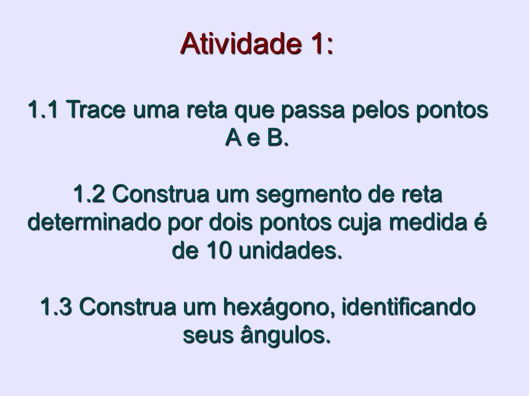 Atividade 1: 1.1 Trace uma reta que passa pelos pontos A e B. 1.2 Construa um segmento de reta determinado por dois pontos cuja medida é de 10 unidade