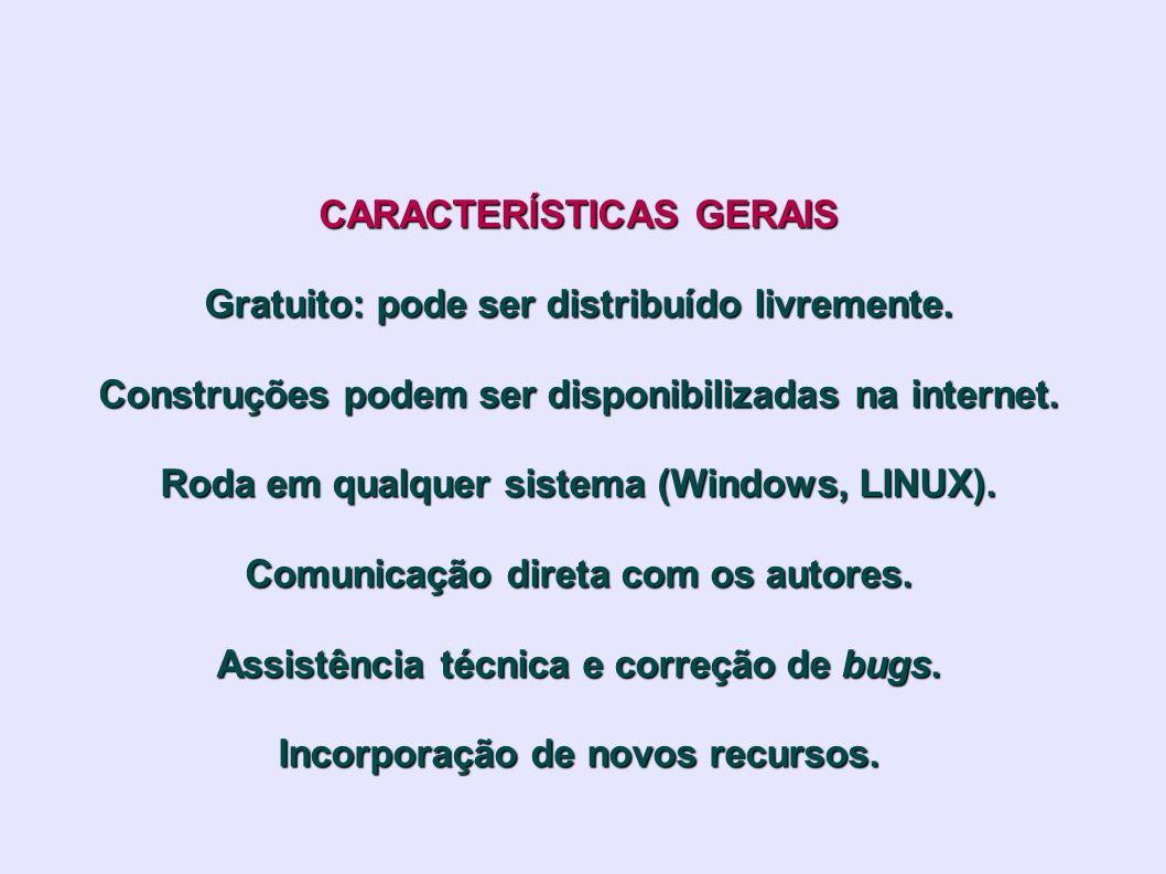 CARACTERÍSTICAS GERAIS Gratuito: pode ser distribuído livremente. Construções podem ser disponibilizadas na internet. Roda em qualquer sistema (Window