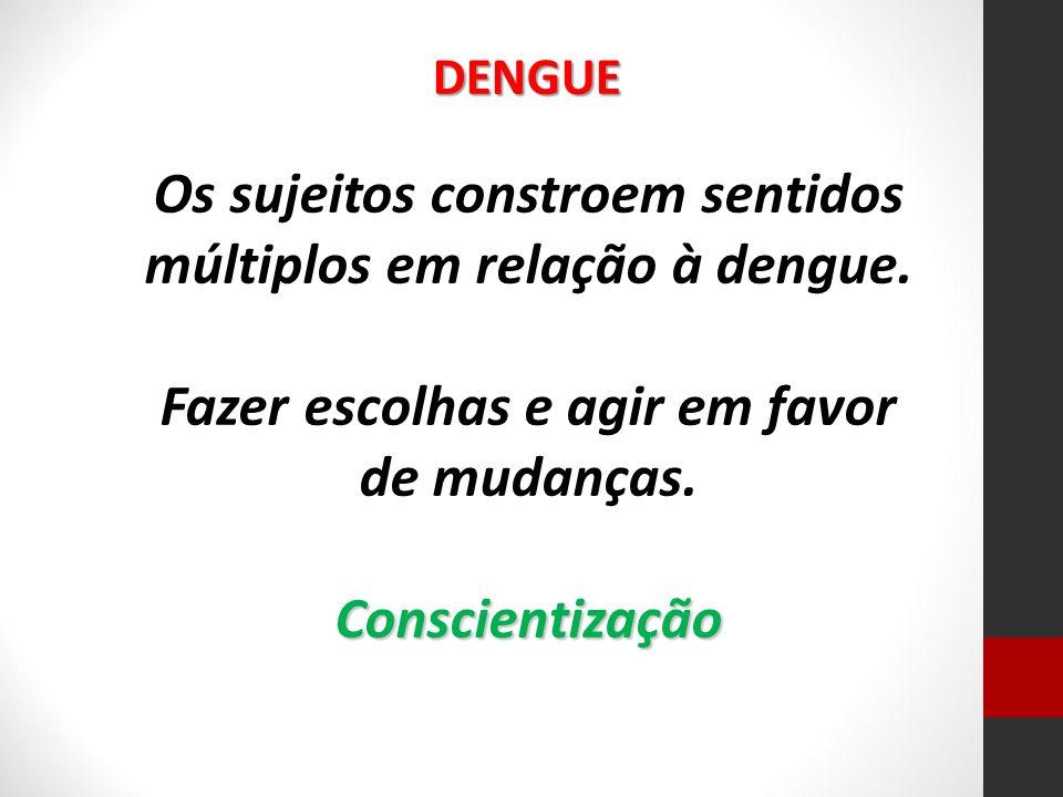 Os sujeitos constroem sentidos múltiplos em relação à dengue. Fazer escolhas e agir em favor de mudanças.Conscientização DENGUE