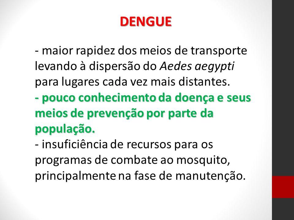 - maior rapidez dos meios de transporte levando à dispersão do Aedes aegypti para lugares cada vez mais distantes. - pouco conhecimento da doença e se