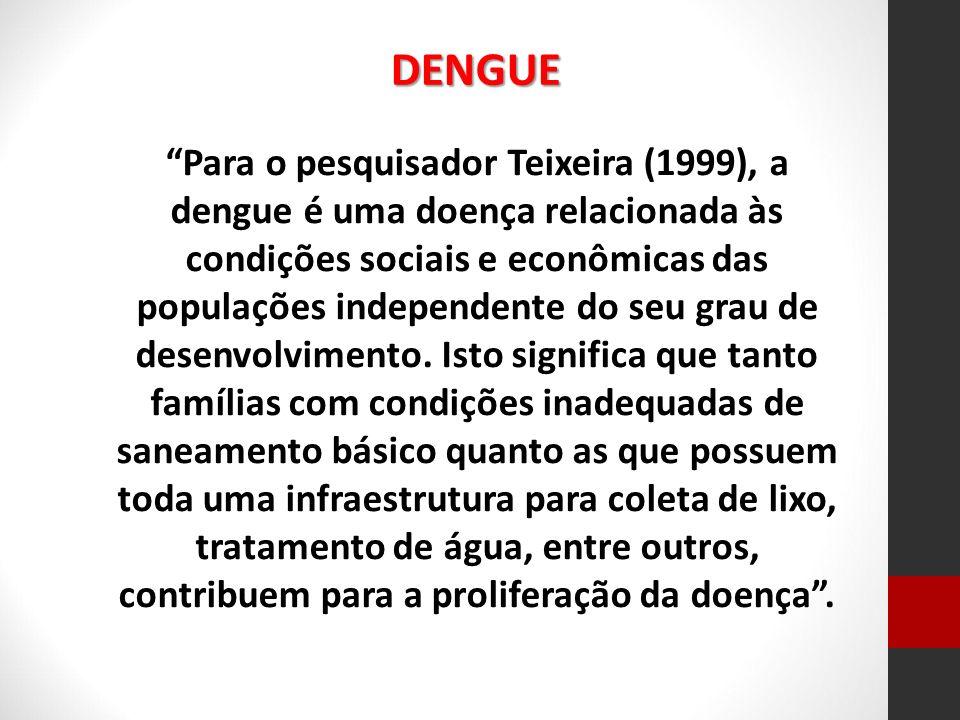 Para o pesquisador Teixeira (1999), a dengue é uma doença relacionada às condições sociais e econômicas das populações independente do seu grau de des
