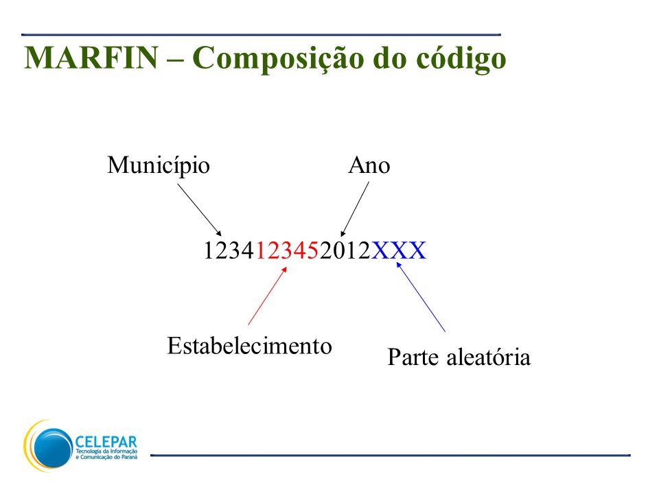 19 MARFIN – Composição do código 1234123452012XXX Município Estabelecimento Ano Parte aleatória