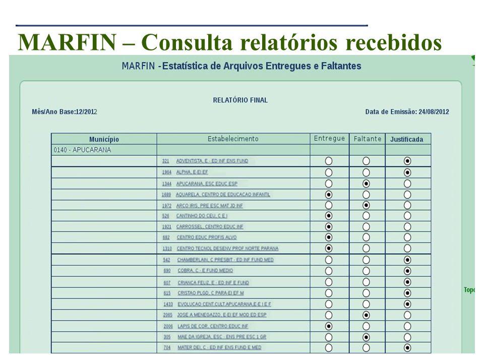 24 MARFIN – Consulta relatórios recebidos