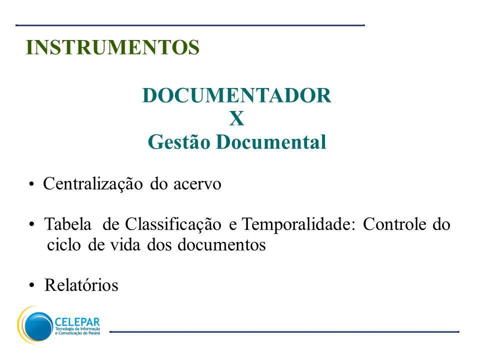 5 INSTRUMENTOS DOCUMENTADOR X Gestão Documental Centralização do acervo Tabela de Classificação e Temporalidade: Controle do ciclo de vida dos documen