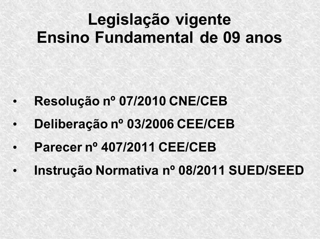 Legislação vigente Ensino Fundamental de 09 anos Resolução nº 07/2010 CNE/CEB Deliberação nº 03/2006 CEE/CEB Parecer nº 407/2011 CEE/CEB Instrução Nor