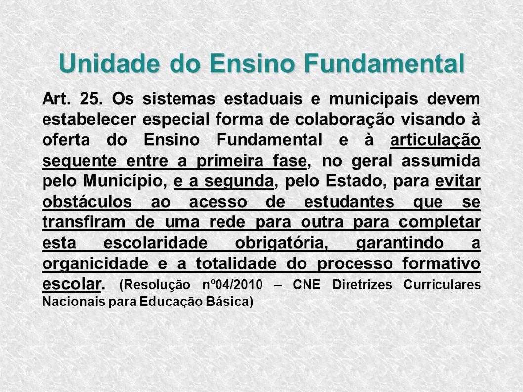 Unidade do Ensino Fundamental Art. 25. Os sistemas estaduais e municipais devem estabelecer especial forma de colaboração visando à oferta do Ensino F