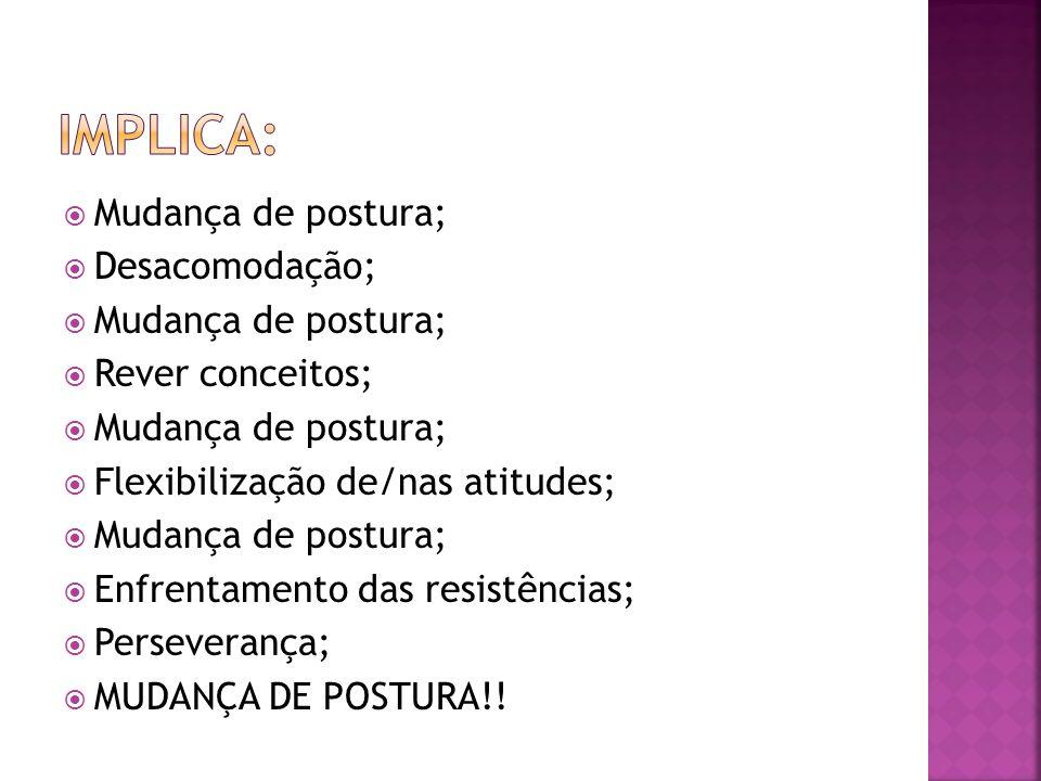 Mudança de postura; Desacomodação; Mudança de postura; Rever conceitos; Mudança de postura; Flexibilização de/nas atitudes; Mudança de postura; Enfren