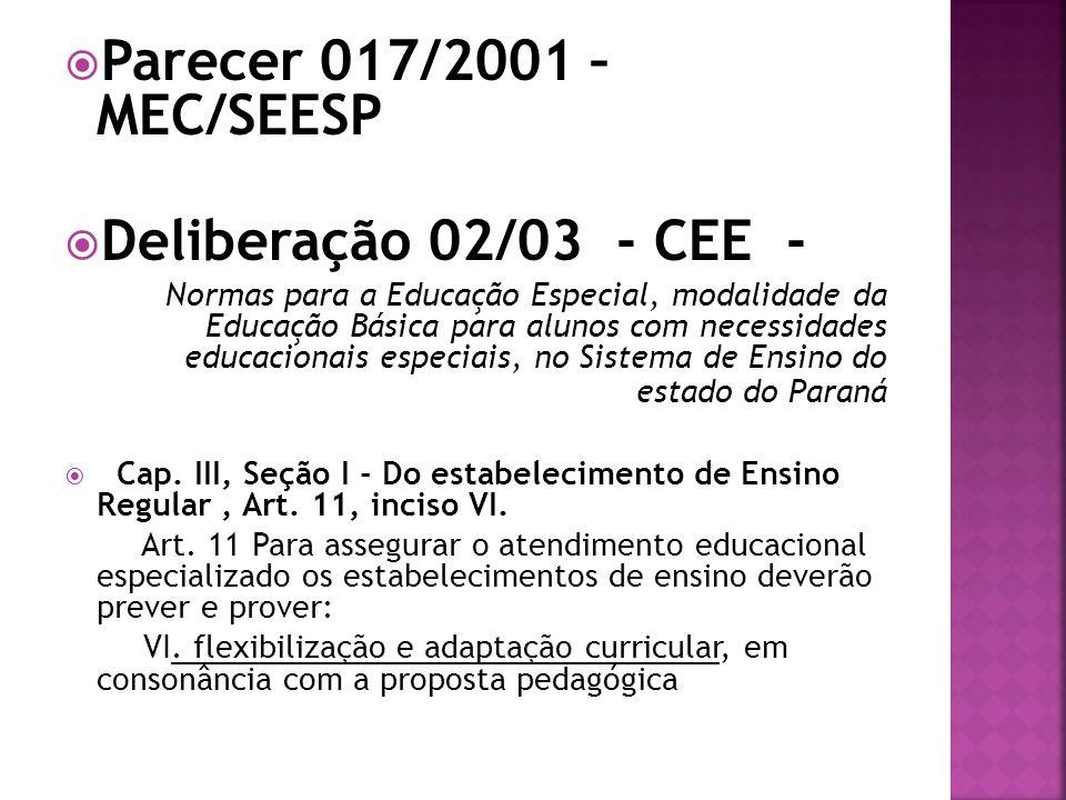 Parecer 017/2001 – MEC/SEESP Deliberação 02/03 - CEE - Normas para a Educação Especial, modalidade da Educação Básica para alunos com necessidades edu