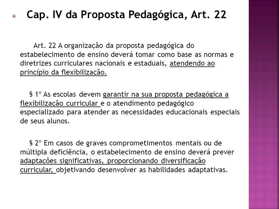 Cap. IV da Proposta Pedagógica, Art. 22 Art. 22 A organização da proposta pedagógica do estabelecimento de ensino deverá tomar como base as normas e d