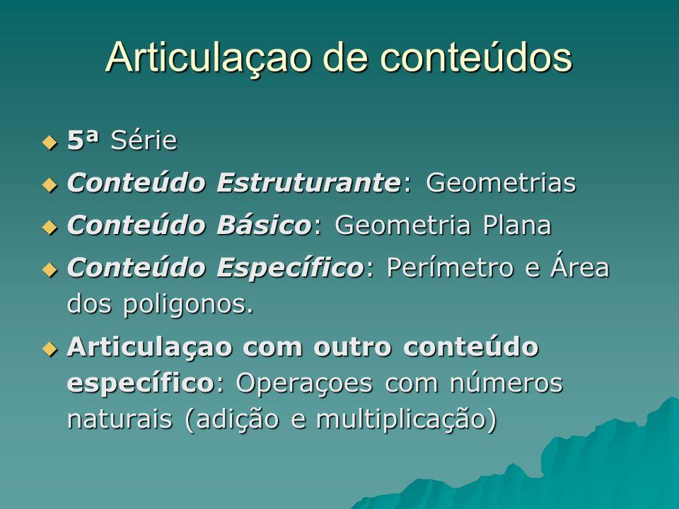 Articulaçao de conteúdos 5ª Série 5ª Série Conteúdo Estruturante: Geometrias Conteúdo Estruturante: Geometrias Conteúdo Básico: Geometria Plana Conteú
