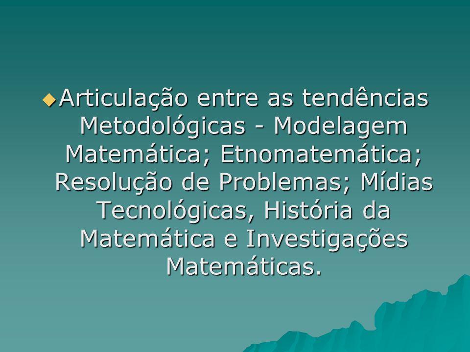 Articulação entre as tendências Metodológicas - Modelagem Matemática; Etnomatemática; Resolução de Problemas; Mídias Tecnológicas, História da Matemát