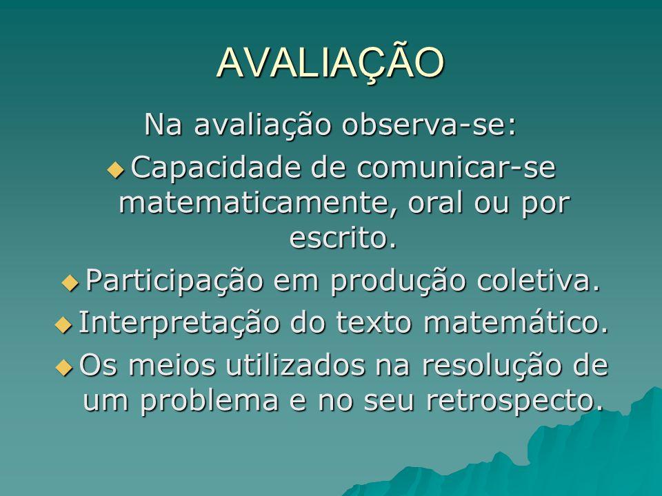 AVALIAÇÃO Na avaliação observa-se: Capacidade de comunicar-se matematicamente, oral ou por escrito. Capacidade de comunicar-se matematicamente, oral o