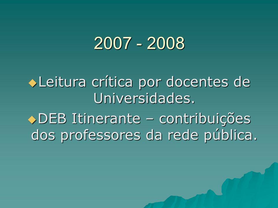 2007 - 2008 Leitura crítica por docentes de Universidades. Leitura crítica por docentes de Universidades. DEB Itinerante – contribuições dos professor