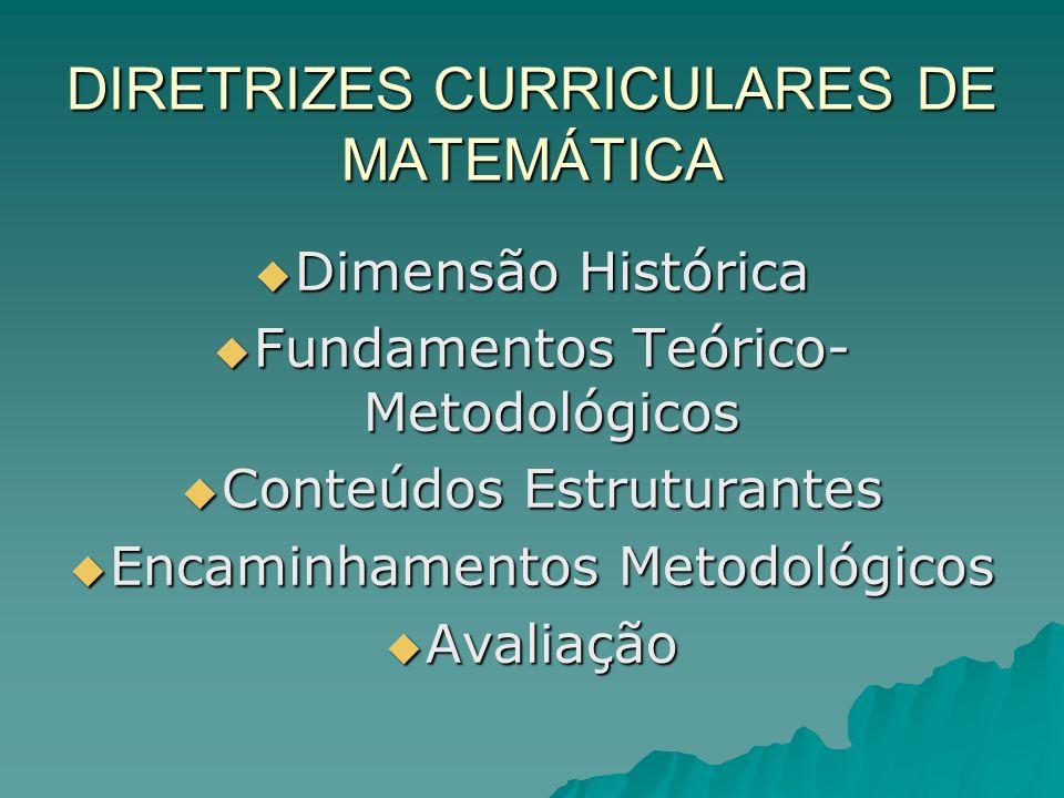 DIRETRIZES CURRICULARES DE MATEMÁTICA Dimensão Histórica Dimensão Histórica Fundamentos Teórico- Metodológicos Fundamentos Teórico- Metodológicos Cont