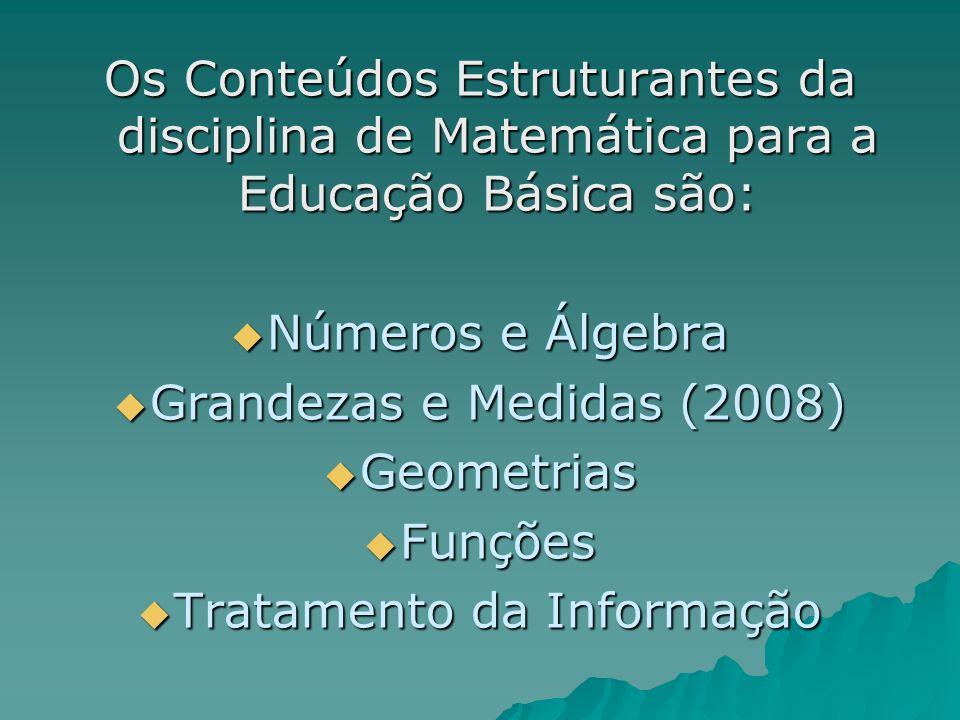 Os Conteúdos Estruturantes da disciplina de Matemática para a Educação Básica são: Números e Álgebra Números e Álgebra Grandezas e Medidas (2008) Gran