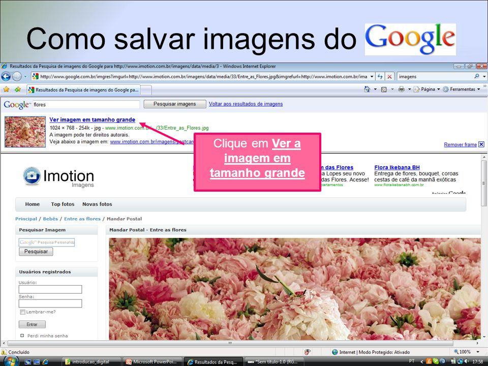 Como salvar imagens do Clique em Ver a imagem em tamanho grande Clique na imagem com o botão direito do mouse e selecione a opção Salvar imagemcomo