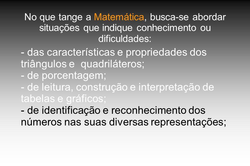 No que tange a Matemática, busca-se abordar situações que indique conhecimento ou dificuldades: - das características e propriedades dos triângulos e