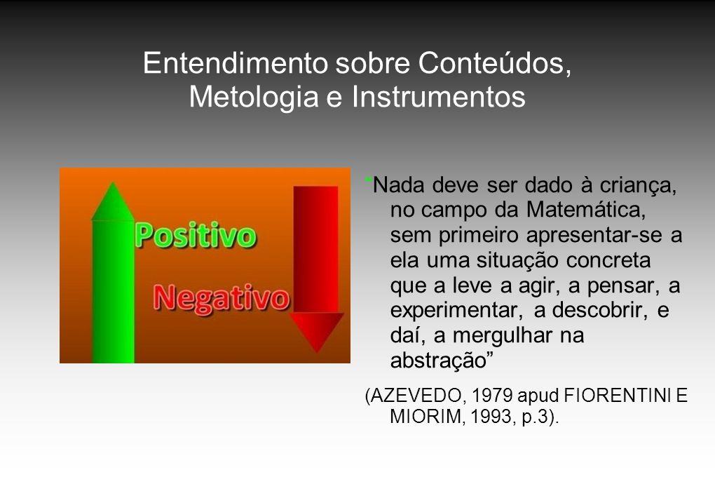 Entendimento sobre Conteúdos, Metologia e Instrumentos Nada deve ser dado à criança, no campo da Matemática, sem primeiro apresentar-se a ela uma situ