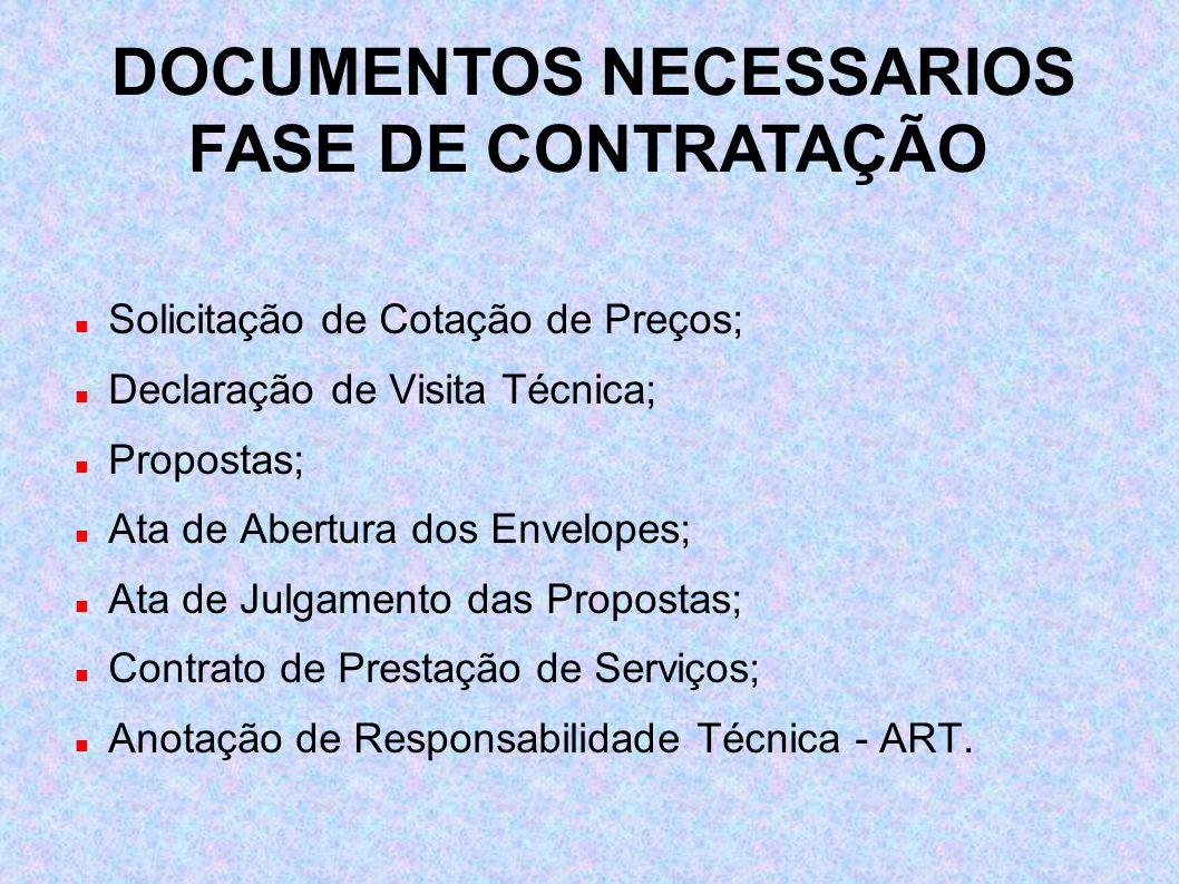 Solicitação de Cotação de Preços; Declaração de Visita Técnica; Propostas; Ata de Abertura dos Envelopes; Ata de Julgamento das Propostas; Contrato de