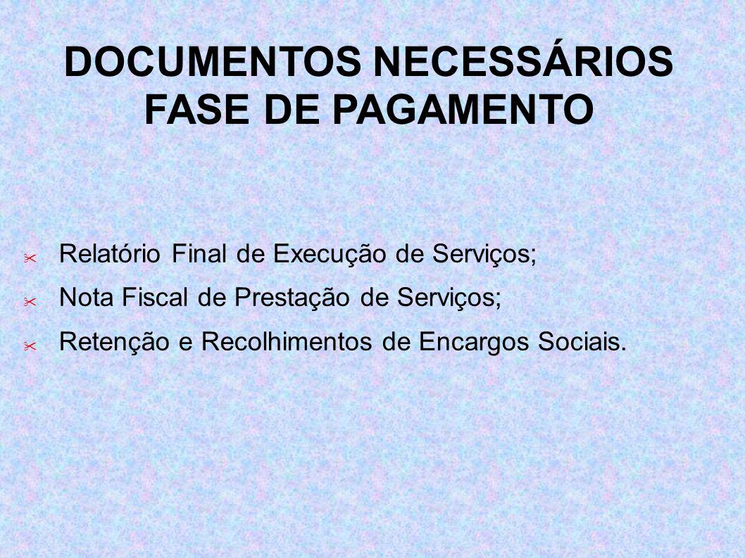Relatório Final de Execução de Serviços; Nota Fiscal de Prestação de Serviços; Retenção e Recolhimentos de Encargos Sociais. DOCUMENTOS NECESSÁRIOS FA