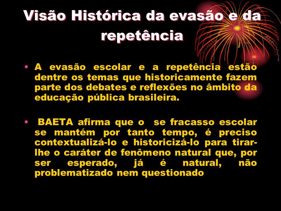 Visão Histórica da evasão e da repetência A evasão escolar e a repetência estão dentre os temas que historicamente fazem parte dos debates e reflexões