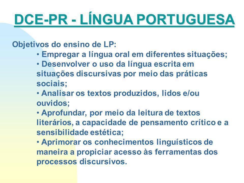 Objetivos do ensino de LP: Empregar a língua oral em diferentes situações; Desenvolver o uso da língua escrita em situações discursivas por meio das p