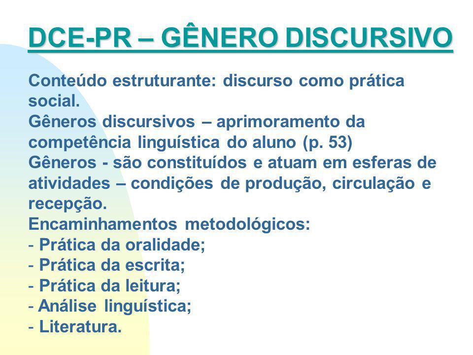 Conteúdo estruturante: discurso como prática social. Gêneros discursivos – aprimoramento da competência linguística do aluno (p. 53) Gêneros - são con