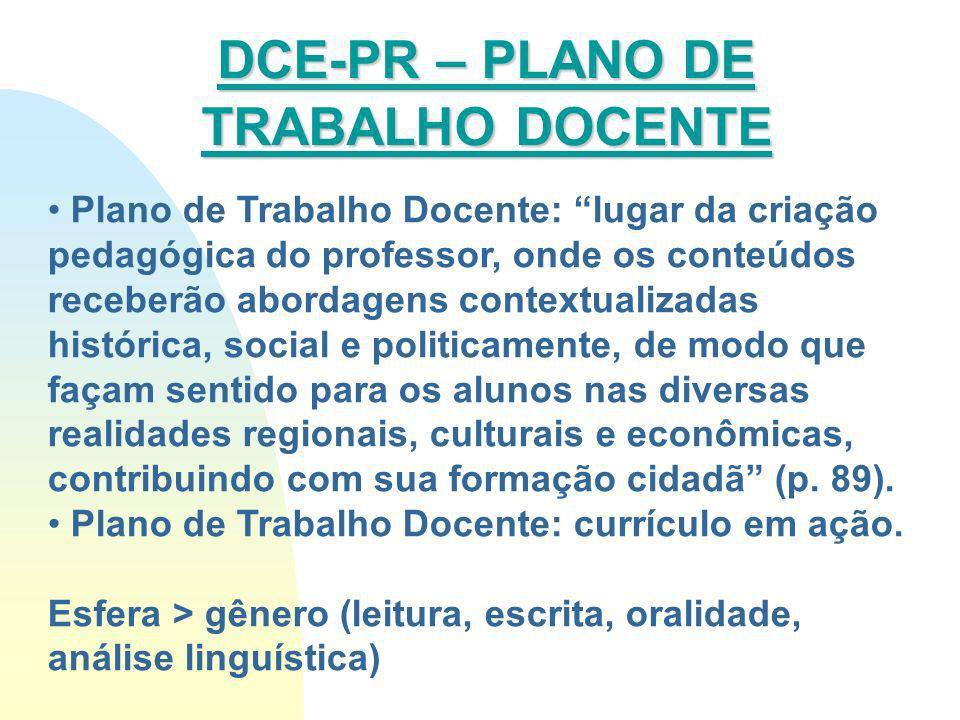 Plano de Trabalho Docente: lugar da criação pedagógica do professor, onde os conteúdos receberão abordagens contextualizadas histórica, social e polit
