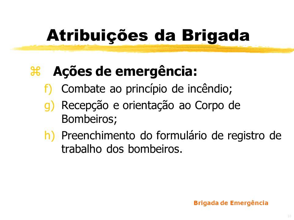 Brigada de Emergência 11 Procedimentos Básicos de Emergência yAlerta; yAnálise de Situação / Risco; yPrimeiros Socorros; yCorte de Energia; yAbandono da Área; yConfinamento do Sinistro; yIsolamento da área; yExtinção; yInvestigação.