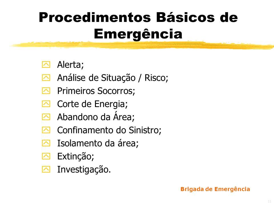 Brigada de Emergência 12 Procedimentos Básicos de Emergência zCom a chegada do Corpo de Bombeiros, a brigada deve ficar à sua disposição; zDevem ser elaborados Planos básicos para cada tipo de emergência.